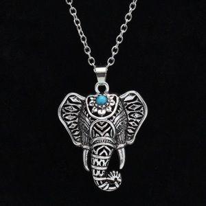 Silver boho elephant pendant necklace